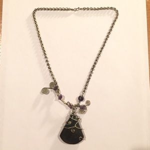 One of a kind silver chain and stone necklace